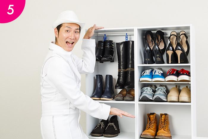 残りのスペースに靴をしまえば… シューズボックスの完成です