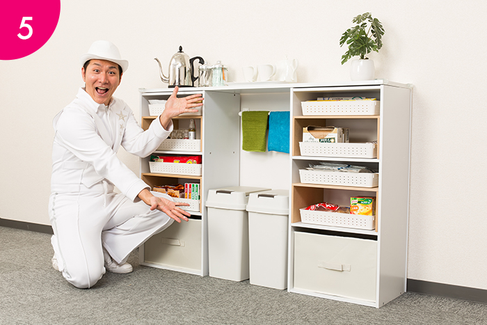 各棚にプラカゴとインナーボックスをインしたら、完成です。