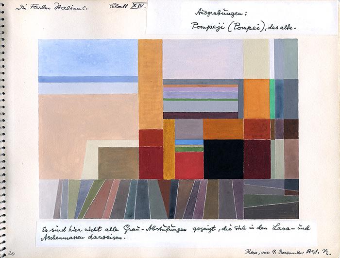 オットー・ネーベル 《ポンペイ》『イタリアのカラーアトラス(色彩地図帳)』より、1931年、インク、グアッシュ・紙、オットー・ネーベル財団