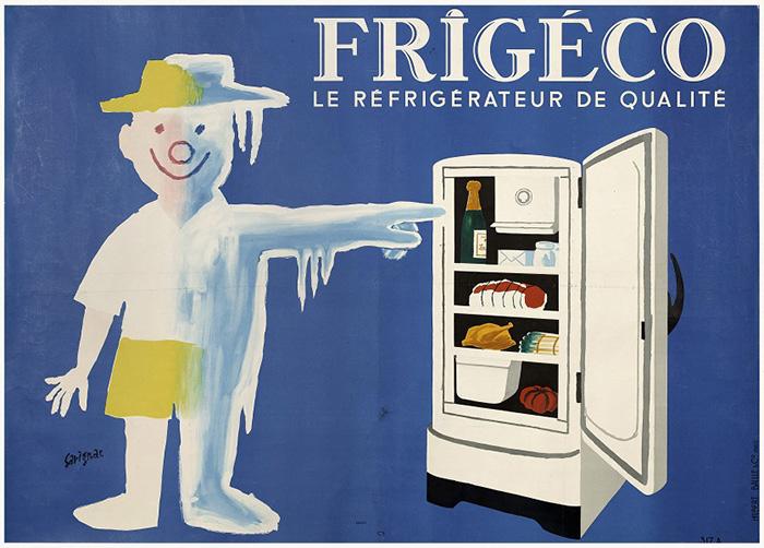 レイモン・サヴィニャック《フリジェコ:良質の冷蔵庫》1959年 ポスター、カラーリトグラフ 120×160cm パリ市フォルネー図書館所蔵 ©Annie Charpentier 2018