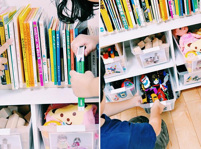 左:木製ディッシュラックで絵本は背の順に立てる 右:キャスター付きケースで分類→写真でラベリング